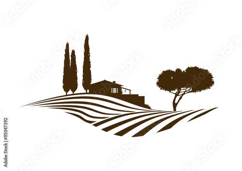 Poster Wit mediterrane vektor Landschaft mit Feldern, Haus und Baum