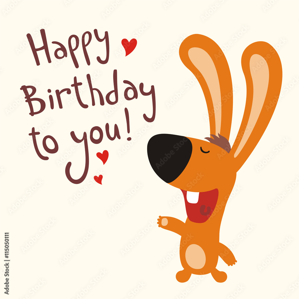 Fototapeten Happy Birthday To You Funny Rabbit Sings