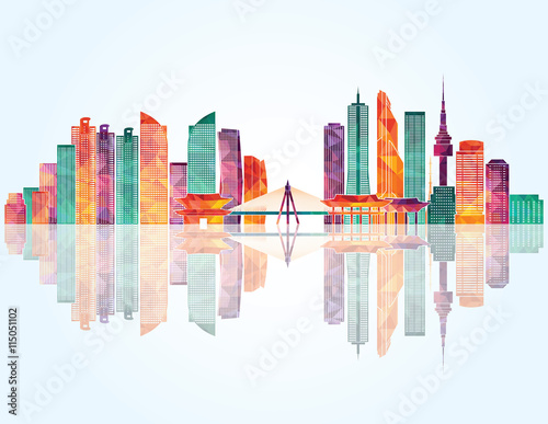 Photo  Seoul detailed skyline. Vector illustration