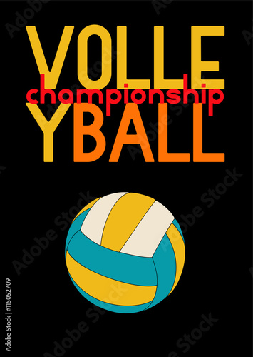 obraz PCV Volleyball typographic poster design with ball. Vector illustration.