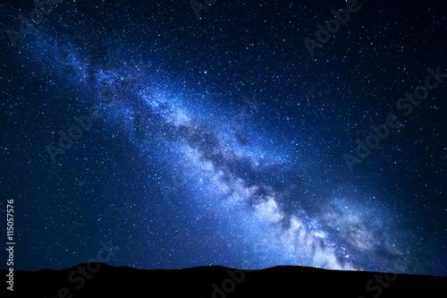 Foto op Canvas Zwart Night landscape with Milky Way. Starry sky, Universe