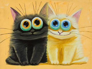 Fototapeta Kot an original painting on canvas of white and black funny cats with big eyes, joy and happy mood, part of collection.