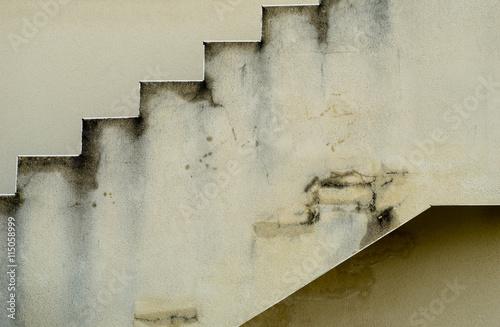 Fotografie, Obraz  Bauschaden – Wasserinfiltration und Risse an einer Außentreppe - Structural dama