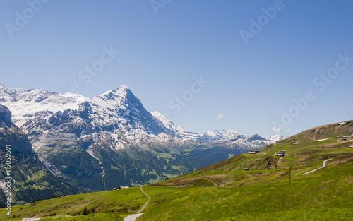 Recess Fitting Panorama Photos Grindelwald, Alpen, Berner Oberland, Kleine Scheidegg, Eiger, Eigernordwand, Lauberhorn, First, Schreckfeld, Wanderweg, Sommer, Schweiz