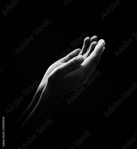 Photo International human rights day concept: Prayer open two empty hands with palms u