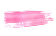 Pastel Pink Watercolor Stroke. Vector Paint Texture, Banner Background
