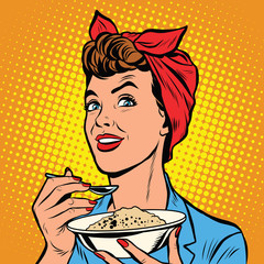 Woman with bowl of delicious cereal