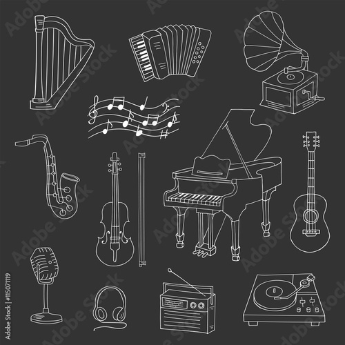 Music icon set vector illustrations hand drawn doodle