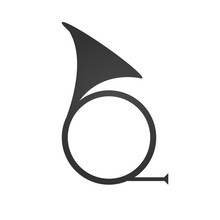 Hunting Horn Icon. Simple Flat Logo Of Horn On White Background. Signal Symbol. Vector Illustration.