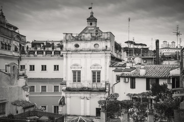 Skyline of old Rome, Italy. Via del Corso, retro