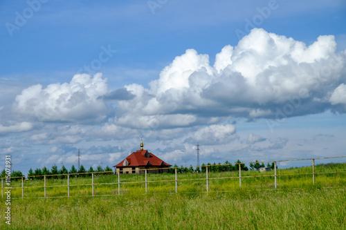 Foto auf Gartenposter Reisfelder church temple landscape