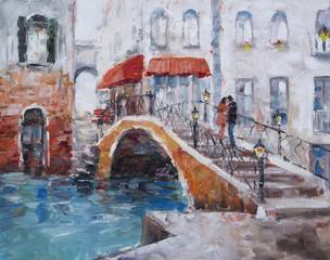 Panel Szklany Art Oil-Painting Picture Venice. The Bridge With Lovers.