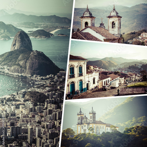 In de dag Rio de Janeiro Collage of Rio de Janeiro ( Brazil ) images - travel background