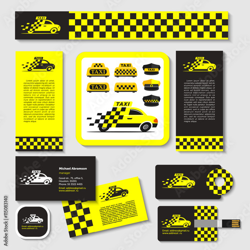 Canvas Print Taxi. Set of emblems. Elements of corporate style. Business card