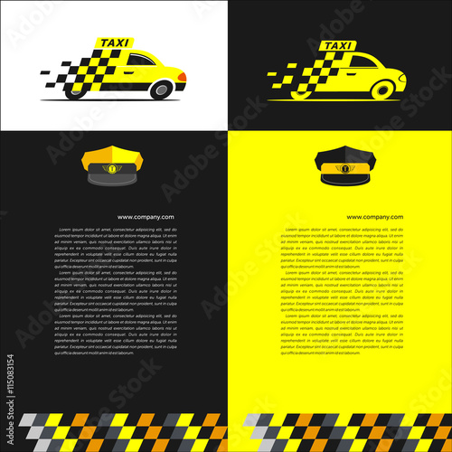 Foto Taxi. Set of flyer templates. Elements of corporate style.