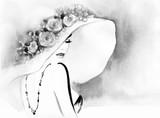 elegant lady. watercolor fashion illustration - 115083978