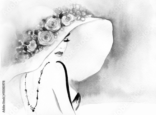 Garden Poster Watercolor Face elegant lady. watercolor fashion illustration