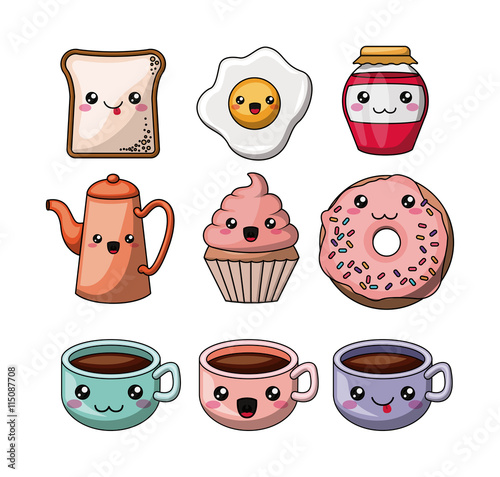 Photo  set kawaii style food isolated icon design