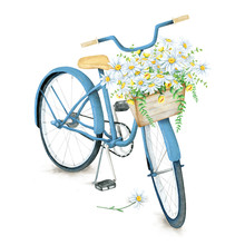 Watercolor Hand Drawn Blue Bicycle With Beautiful Flower Basket. Illustration Isolated On White Background