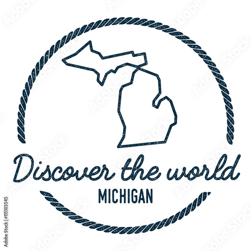 Michigan Map Outline Vintage Discover The World Rubber Stamp With