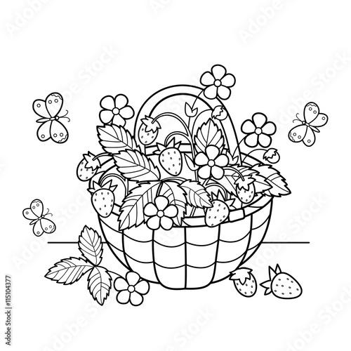 Coloring Page Outline Of cartoon basket of berries. Garden ...