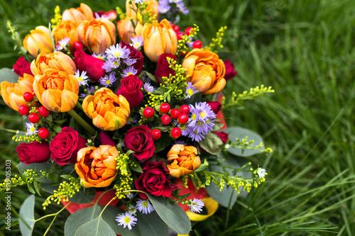obraz lub plakat Beautiful bouquet of various flowers