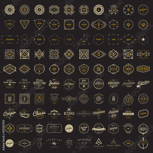 Cuadros en Lienzo Vector logo, label, monogram, insignia bundle templates