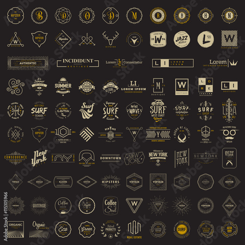 Fotomural Vector logo, label, monogram, insignia bundle templates