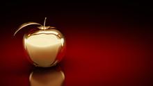 Gold Apple. 3d Rendering