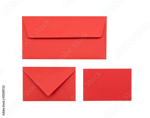 Fotografia, Obraz  Red envelope on a white background