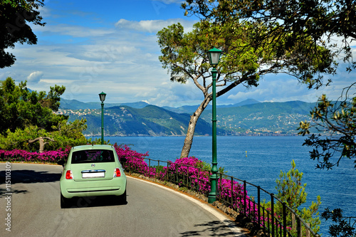 Canvas Print Beautiful road to Portofino from Santa Margherita