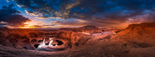 Reflection Canyon And Navajo Mountain At Sunrise Panorama
