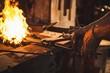 Blacksmith heating item before forging