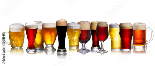 Fotografie, Obraz  Set of various beer isolated on a white background