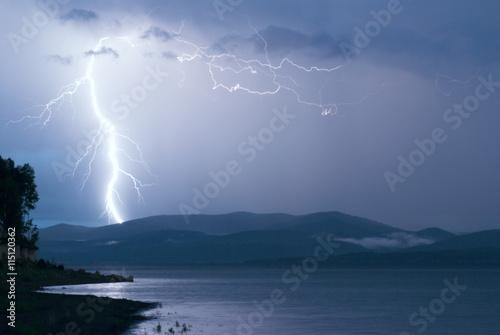 Fototapeta Storm over Yenisei river, at siberia. obraz