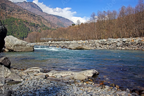 Printed kitchen splashbacks River Beas river flowing through the Manali region of Himalayas. White water rafting is a popular sport here.