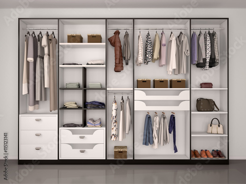 Fotografía  black and white wardrobe closet full of different things. 3d ill
