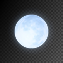 Realistic Detailed Full Blue Moon Isolated On Transparent Background. Eps10 Vector Illustration, Easy To Use.