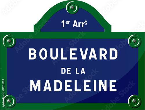 Fotografie, Obraz Panneau boulevard de la Madeleine 75001 Paris - Panneau rue parisienne - France