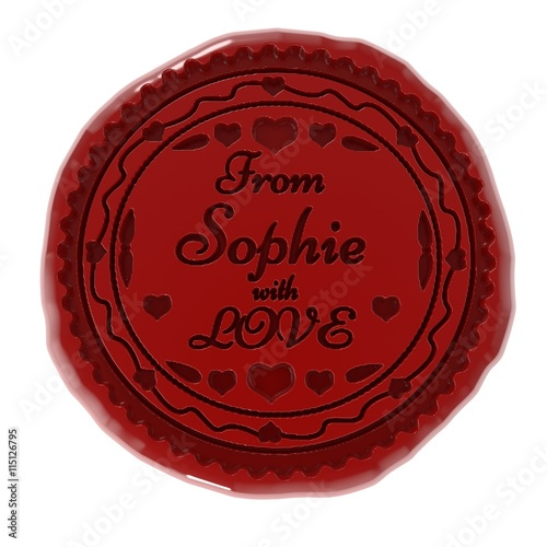 Photo  3d illustration of wax seal or stamp and from Sophie with love message