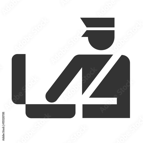 Fotografía  Customs officer looks to a baggage icon isolated on a white background