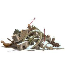 Broken To Pieces Wooden Truck, Attack Of Indians