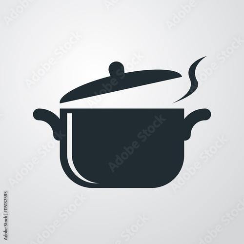Fotografie, Obraz  Icono plano olla con vapor sobre fondo degradado gris