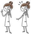 看護師の女性: 虫眼鏡で覗く