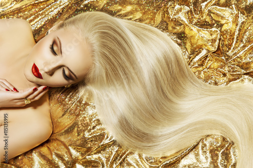 Plakát  Fashion Model Gold Color Hair Style, Woman Long Waving Hairstyle