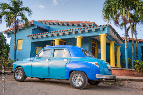 Fényképezés  Blue old classic american car in Vinales, Cuba