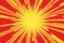 Red Yellow Pop Art Retro Background Cartoon Lightning Blast Radi