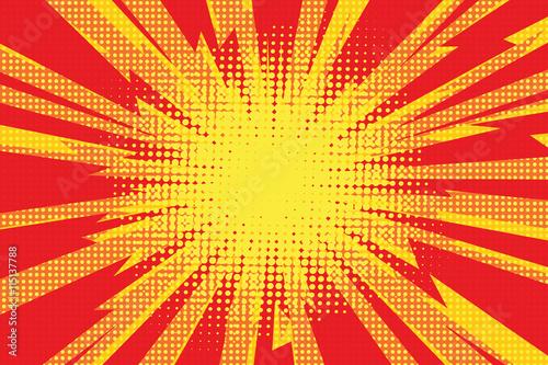 Photo Red yellow pop art retro background cartoon lightning blast radi