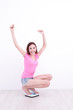 woman Squatting on weight machine