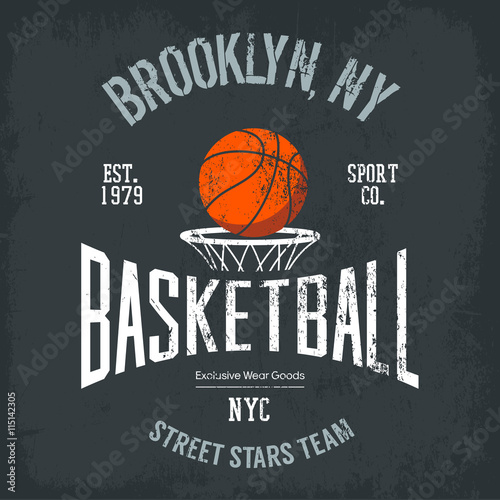 plakat Streetball or urban sport team logo and banner